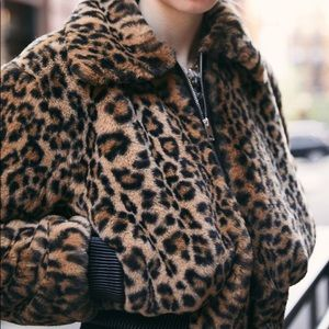 Urban Outfitters Faux Fur Leopard Cropped Bomber